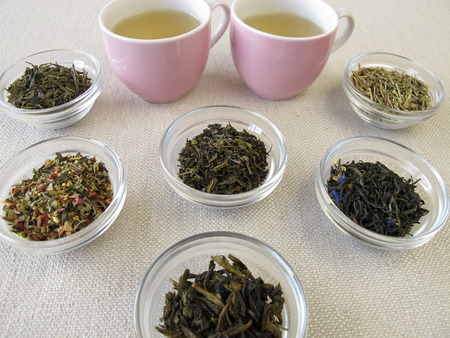 sencha: Green tea varieties and two cups of tea Stock Photo