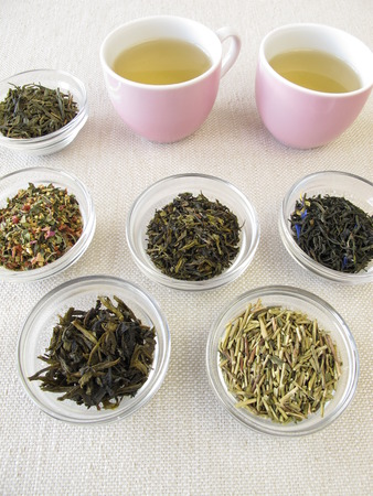 sencha tea: Green tea varieties and two cups of tea Stock Photo