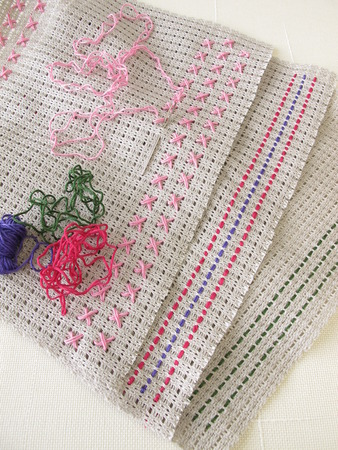 stitches: Various simple embroidery stitches on canvas
