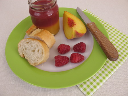 bicolor: Breakfast with bicolor peach and raspberry jam