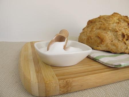 sodium hydrogen carbonate: Homemade soda bread and baking soda