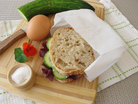 take away: Cucumber sandwich in greaseproof paper bag for take away