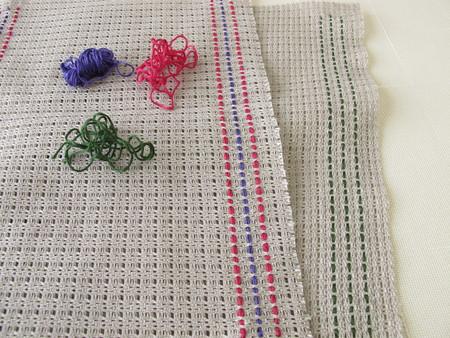stitches: Weaving  stitches on canvas Stock Photo