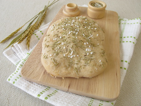 focaccia: Focaccia bread with rosemary and salt