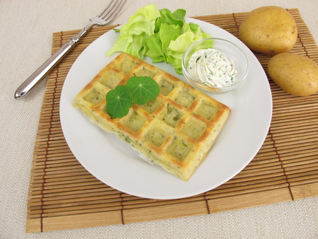 ovenbaked: Oven-baked potato waffles with cream cheese dip and salad