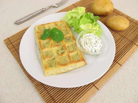 waffle: Oven-baked potato waffles with cream cheese dip and salad