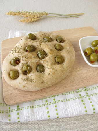 focaccia: Focaccia bread with rosemary and olives