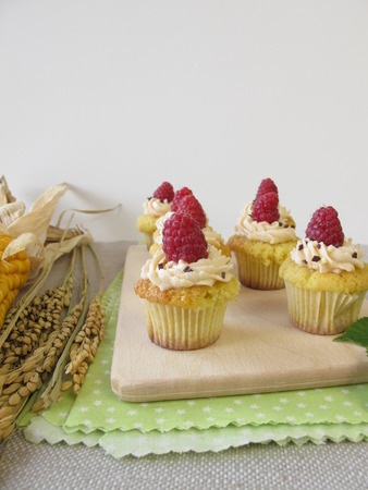 panicle: Gluten free raspberry cupcakes, corncop and rice panicle