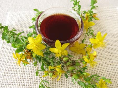 naturopathy: St. Johns Wort Oil Stock Photo