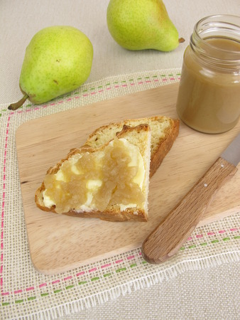 bread soda: Breakfast with fruit spread from pears and soda bread Stock Photo