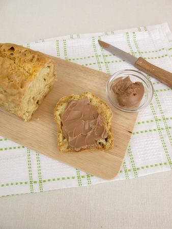 bread soda: Breakfast with soda bread and chocolate-nuts spread