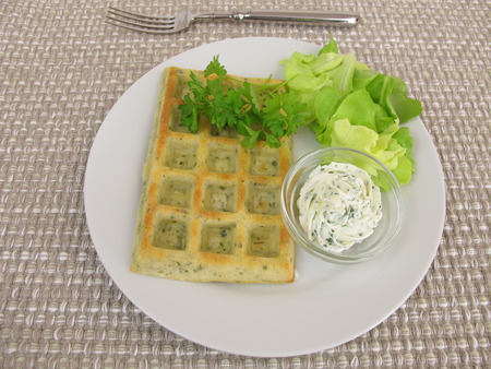 ovenbaked: Oven-baked tart waffles with cream cheese dip and salad