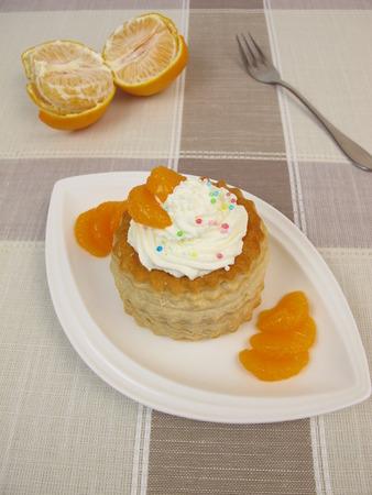 mandarin orange: Puff pastry filled with mandarin orange and whipped cream
