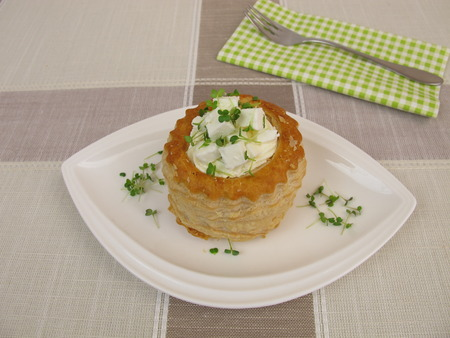 Puff pastry filled with feta and sprouts