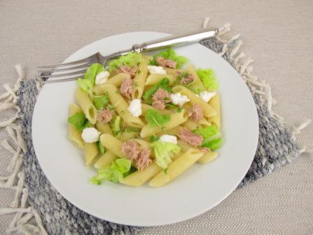 pasta salad: Pasta salad with tuna, lettuce, horseradish cream and basil sprouts