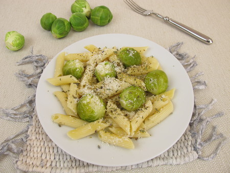 sprout: Pasta with Brussels sprout and parmesan cheese Stock Photo