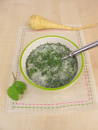 parsnips: Herb soup with parsnips Stock Photo