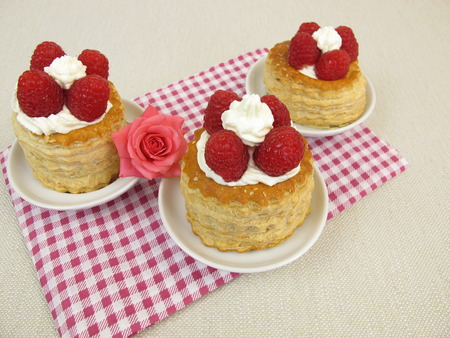 Raspberry pie from puff pastry Stock Photo
