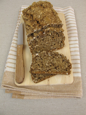 black bread: Black bread with flaxseeds and sunflower seeds