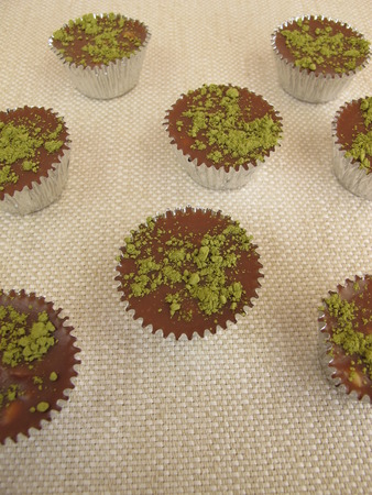 pralines: Homemade chocolate pralines matcha Stock Photo