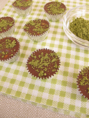 pralines: Homemade chocolate pralines matcha Stock Photo