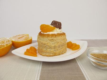 mandarin orange: Puff pastry filled with mandarin orange, whipped cream and chocolate