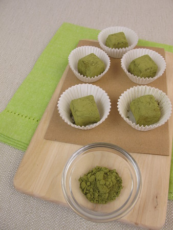 pralines: Green matcha pralines Stock Photo