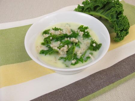 pearl barley: Kale soup with pearl barley Stock Photo