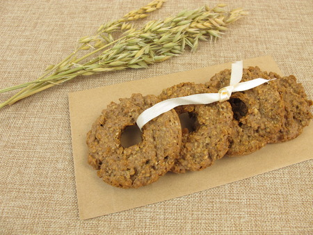 chocolate cookie: Kringle de avena galletas de chocolate Foto de archivo