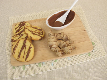 biscuits: Ginger biscuits with chocolate