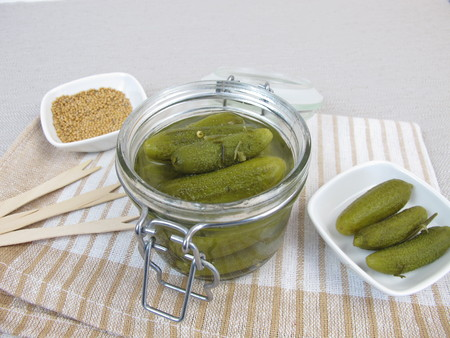 pickled: Pickled cucumber in jar Stock Photo