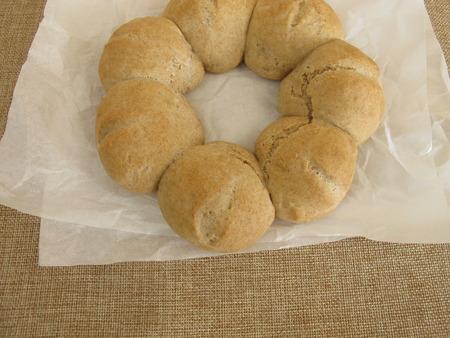 spelled: Homemade roll wreath Stock Photo
