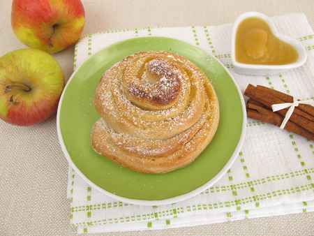icing: Apple pinwheel with icing sugar Stock Photo