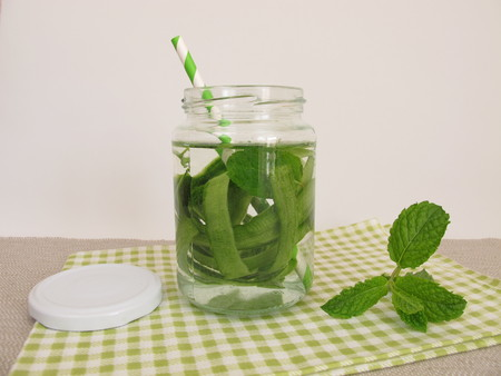 detoxification: Detox water with cucumber peel and mint