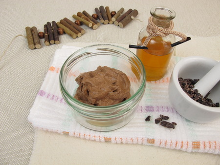 chocolate mask: Homemade chocolate mask with cocoa and oil Stock Photo