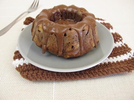 chocolate icing: Chocolate with chocolate icing gugelhupf Stock Photo
