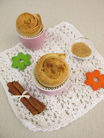 cinnamon swirl: Cinnamon Pinwheel cake muffins Stock Photo
