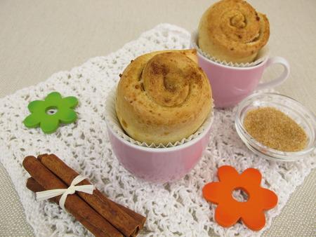 pinwheels: Cinnamon Pinwheel cake muffins Stock Photo