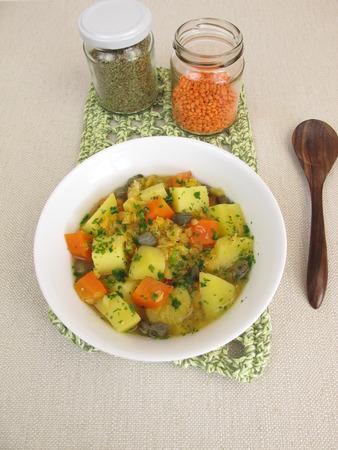 alcaparras: Lentil soup with potatoes, carrots and capers Foto de archivo