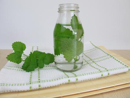 springwater: Herbal water with lemon balm Stock Photo