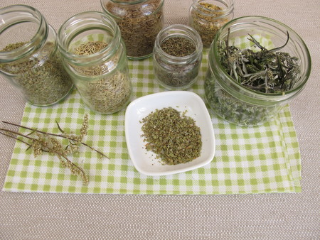 stockpiling: Dried herbs in jars