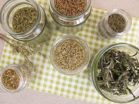 stockpile: Dried herbs in jars