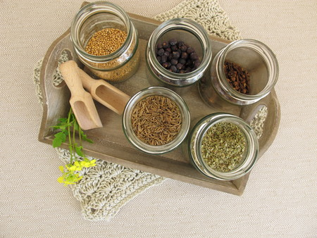stockpile: Dried herbs and spices in jars