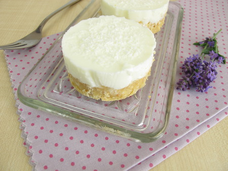 crust: Yogurt-coconut-cake with cookie crumbs crust without baking