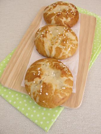 lye: Homemade lye rolls covered with salt