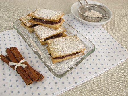 biscuits: Sandwich biscuits filled with chocolate cinnamon cream Stock Photo