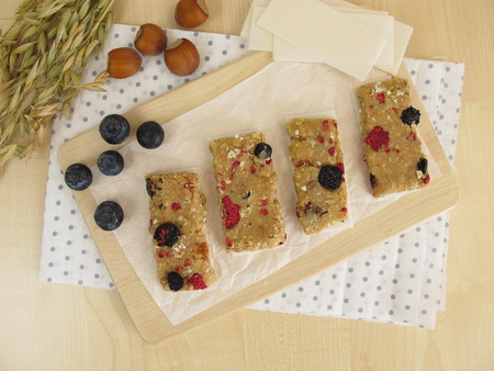 fruit bars: Homemade fruit bars with dried fruits, oatmeal, nuts and coconut Stock Photo