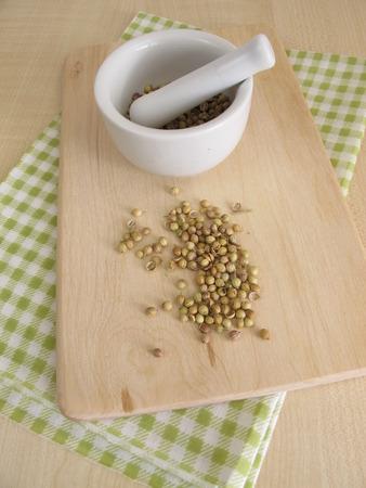 mortal: Coriander seeds and mortal