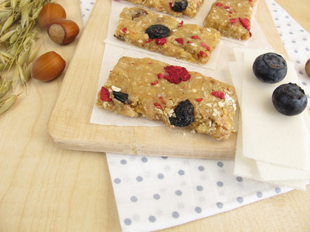 dried fruits: Homemade fruit bars with dried fruits, oatmeal, nuts and coconut Stock Photo