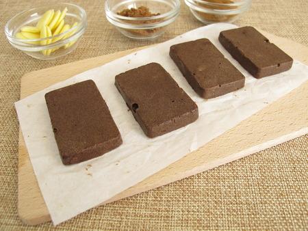 Homemade sugar-free coffee carob chocolate bars